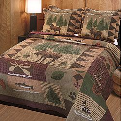 This Moose Lodge quilt set has it all. Big game, duck, salmon and bear tracks make this bedding set ideal for any cabin or country decor.: Moo Lodges, Cabin, Quilts Sets,  Comforter,  Puff, Lodges Quilts, Homes, Moose Lodges, Quilt Sets