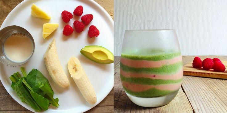 Zielone koktajle: pak choi + banan + mleko sojowe + maliny + ananas + awokado