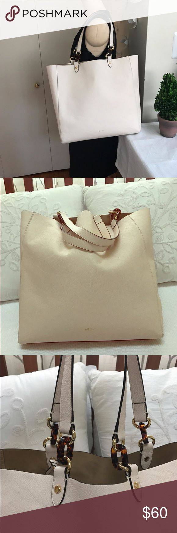 Authentic Ralph Lauren Cream Tote Bag Authentic Ralph Lauren Cream Tote Bag. It's a very nice creamy vanilla bag with a soft gold interior. Inside of the Bag is impeccably clean. There are some marks on the outside of the bag which are indicated in the close up photos. A true classic Ralph Lauren Tote Bag. Simple and Chic. Price is firm. Ralph Lauren Bags Totes