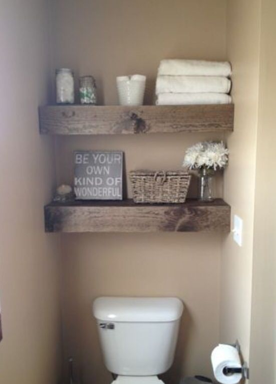Chunky wood shelves for tight spaces and it's a DIY