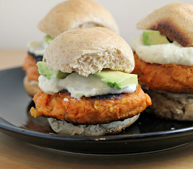 smoky sweet potato burgers w/roasted garlic cream and avocado on whole wheat sliders (all totally homemade!)