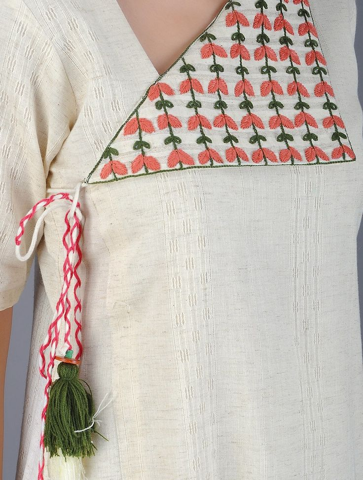 Buy Ivory Coral Green Handwoven Khadi Kurta with Embroidery Women Kurtas Online at Jaypore.com