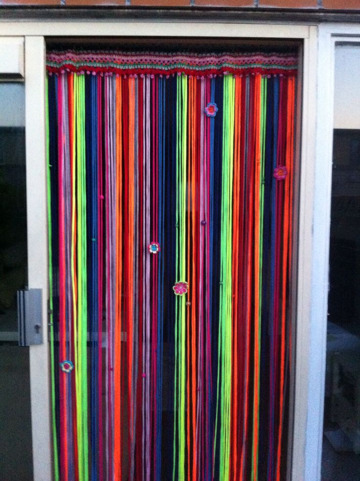 vliegengordijn van haken en kleur gemaakt perdeler pinterest vorh nge gardinen vorh nge. Black Bedroom Furniture Sets. Home Design Ideas