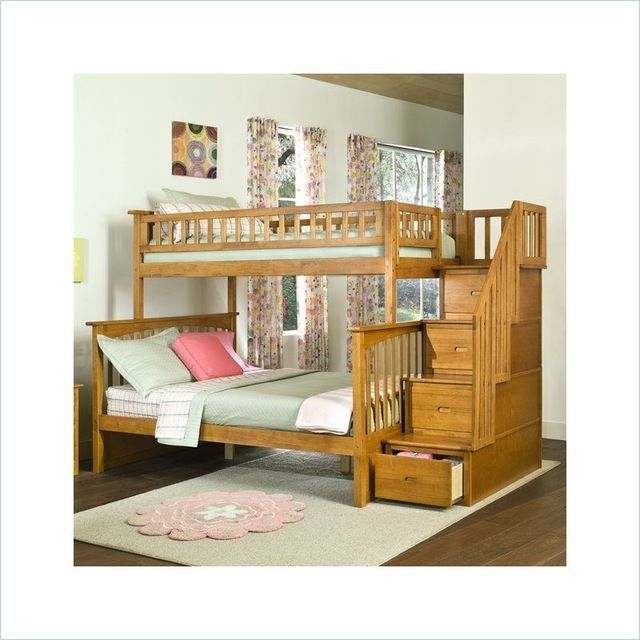 I want this! Atlantic Furniture Columbia Staircase Bunk Bed Twin Over Full in Caramel Latte craftsman-kids-beds