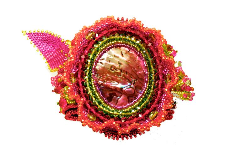 fancy colours bead woven hand cuff bracelet. Statement hand made piece.