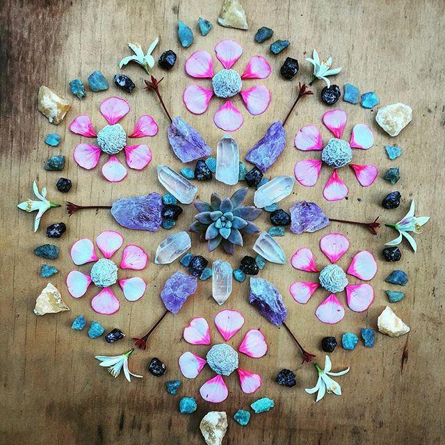Succulent rosette , clear quartz , black tourmaline , aquamarine , amethyst , orange calcite , orange blossoms , gypsum desert rose , geranium petals. #fortuneflowersflorist #flowersandcrystals #6 #crystals #crystalsandflowers #mandala #crystalgrid #crystalmandala #succulent