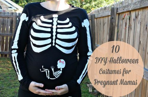 10 DIY Halloween Costumes for Pregnant Mamas. I just love this skeleton shirt! So dang cute!