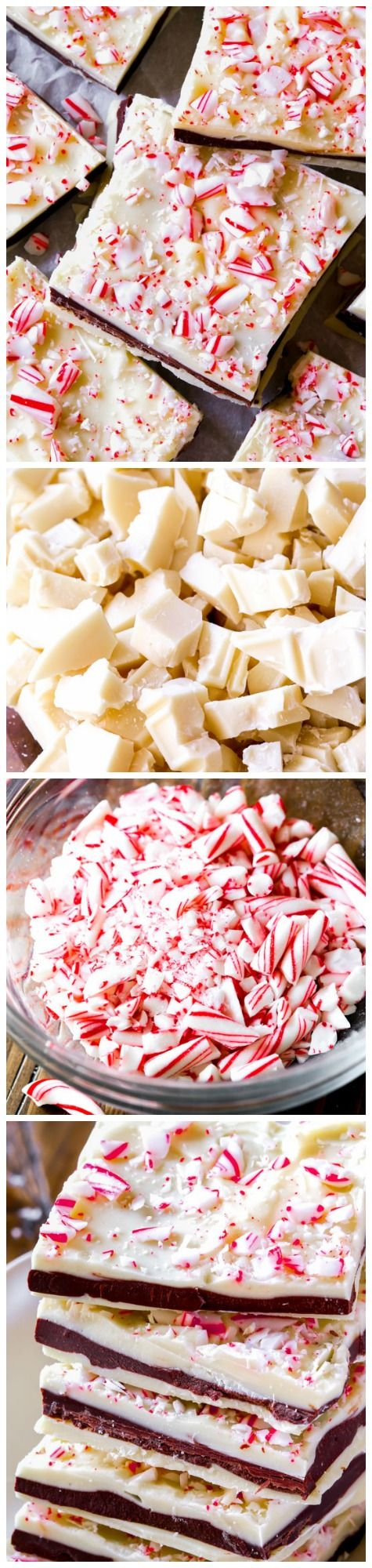 Incredibly simple white chocolate and semi-sweet chocolate layered bark flavored with peppermint and crushed candy canes!
