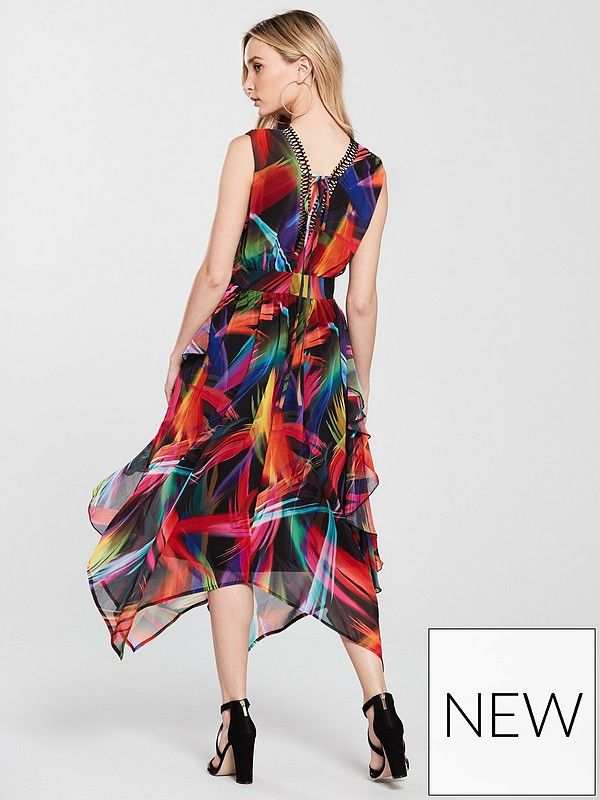 5c722f67c106 V by Very Unique Hanky Hem Carnival Midi Dress - Printed | very.co.uk
