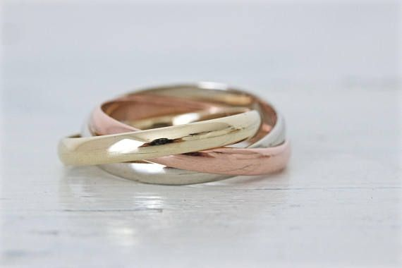 Vintage Rolling Ring Tri Color Russian Wedding Ring