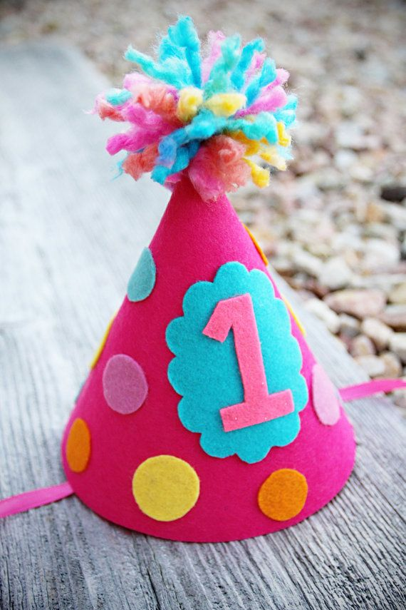 Girls 1st Birthday Party Hat Girls Felt Polkadot by LaLaLolaShop