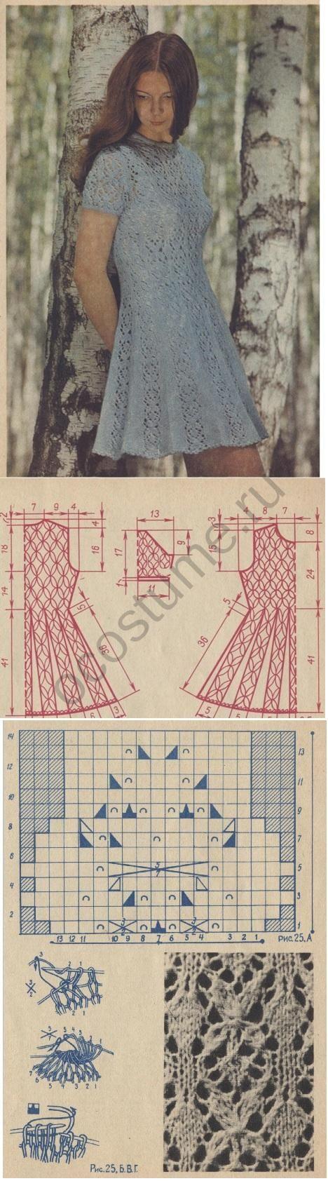 lutik-вязание крючком и спицами: вязаное летнее платье выкройка, схема и описание