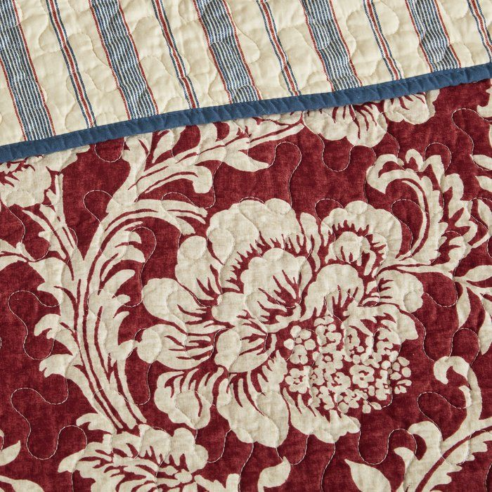 Cheshire Reversible Floral Cotton Blend 6 Piece Coverlet Set Coverlet Set Red Bedding Blue Floral Bedroom