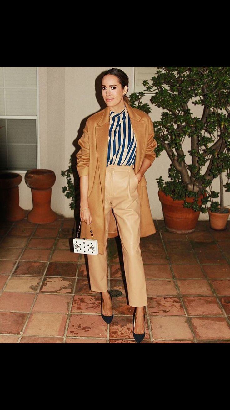 Beautiful trend setter Louise Roe wearing our nude leather pants