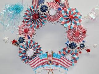 Rosette Wreath with the cricutStripes Challenges, Challenges Blog, Bbtb2 Challenges, Challenges 61, Donna Scrapbook, Stars Stripes, Beautiful Wreaths, Scrapbook Nooks, Rosette Wreaths