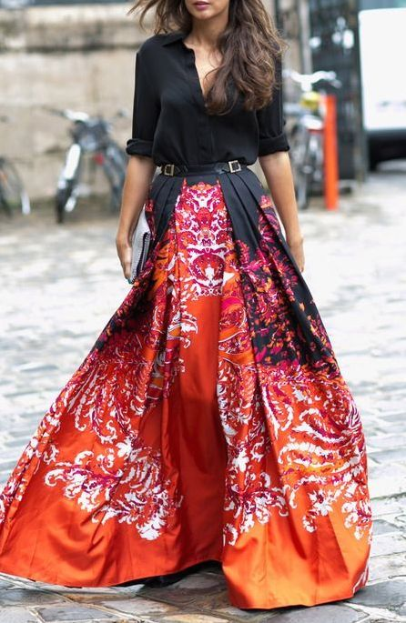 Colorful maxi and black top.