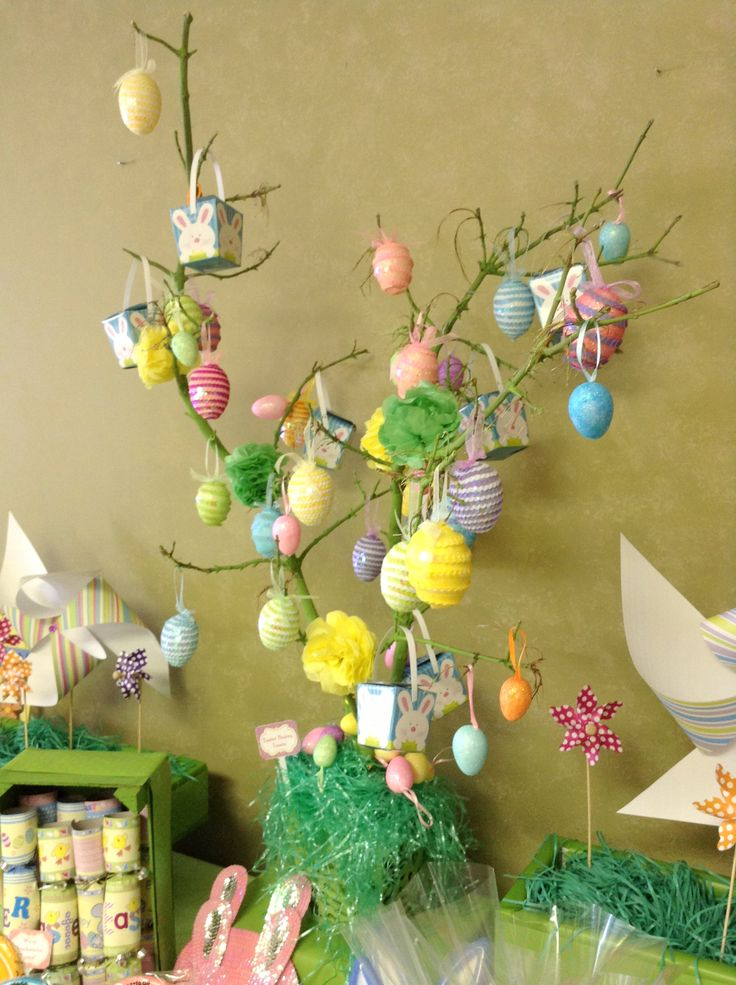 DIY Tree - Painted branches with decorative eggs and treat boxes!