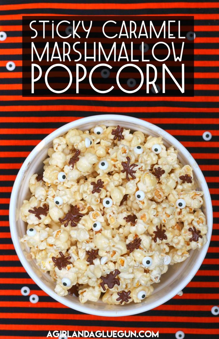 Today I have a fun Halloween snack–Sticky Caramel Marshmallow Popcorn! This is part of my girl Alli's  30 days of Halloween series!  (I love that she loves Halloween as much as I do!) This recipe is yummy–and not just for Halloween! But since it's Halloween…why not throw in some fun Spiders and eyeballs!!   You …