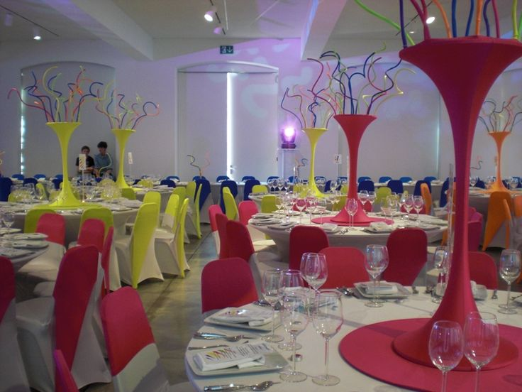 Neon chair covers and center pieces