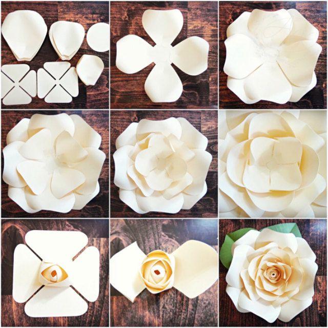 Diy Giant Paper Rose Pattern Templates And Tutorials Garden Etsy Decoracion De Flores De Papel Papel De Bricolaje Rosa Gigante De Papel