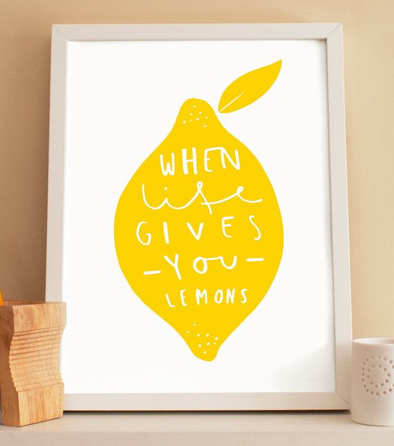 This lemon kitchen print is perfect for those who love a positive quote in the kitchen. The lemon print is an ideal house warming gift and complements any home decor. Illustrated and printed on high quality paper, the simple and modern lemon print adds style to any room. The lemon wall art is uniquely designed and illustrated with the wording when life gives you lemons, a shortened version of the well known positive saying when life gives you lemons make lemonade.    Choose either the lemon…
