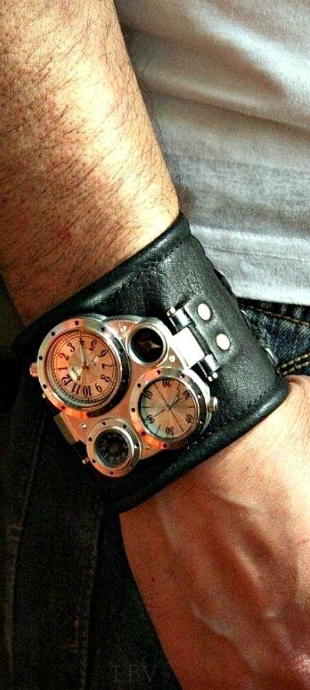 Men's wrist watch leather bracelet