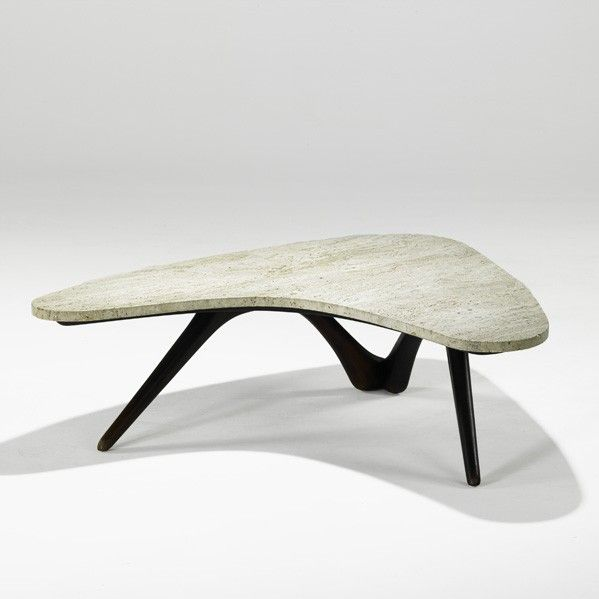 Vladimir Kagan Walnut And Travertine Coffee Table For Kagan Freyfuss 1950s Design