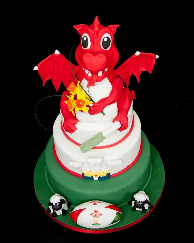 Welsh themed dragon cake