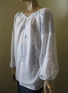 Traditional Romanian blouse with lace pattern !