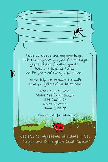 Bugs in a Jar, Boy theme Invitation