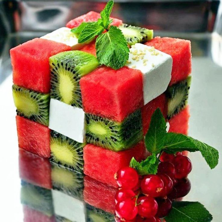 Materials:   Tooth Picks  Square fondant cutters    Ingredients  1 pound of watermelon  2 kiwi  Small block of feta cheese  Spearmint Sprigs    Method  Cube the fruit and cheese  Alternate the fruit and cheese pieces  I broke off toothpicks and placed them down the center to hold the cubes in place  Garnish with spearmint sprigs