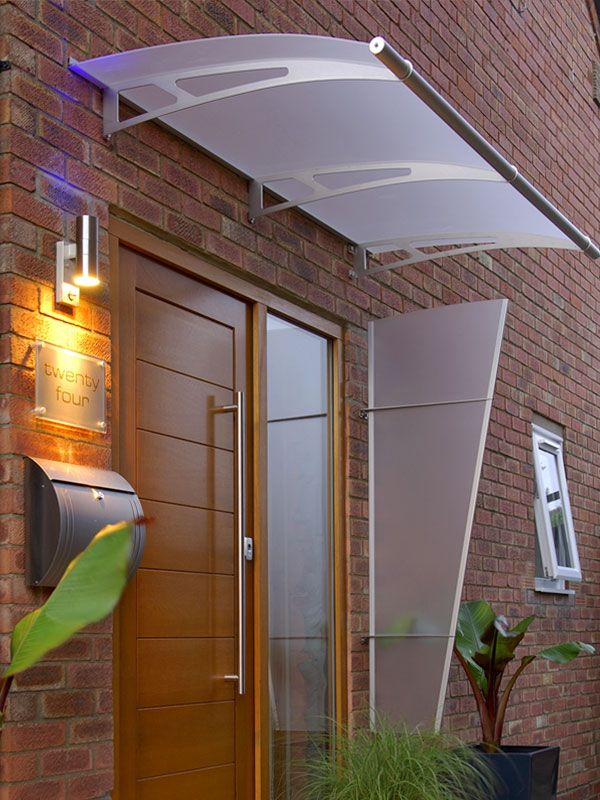 Lightline® Curve Canopy: Lightline® 1900 Curve Canopy installed over residential doorway