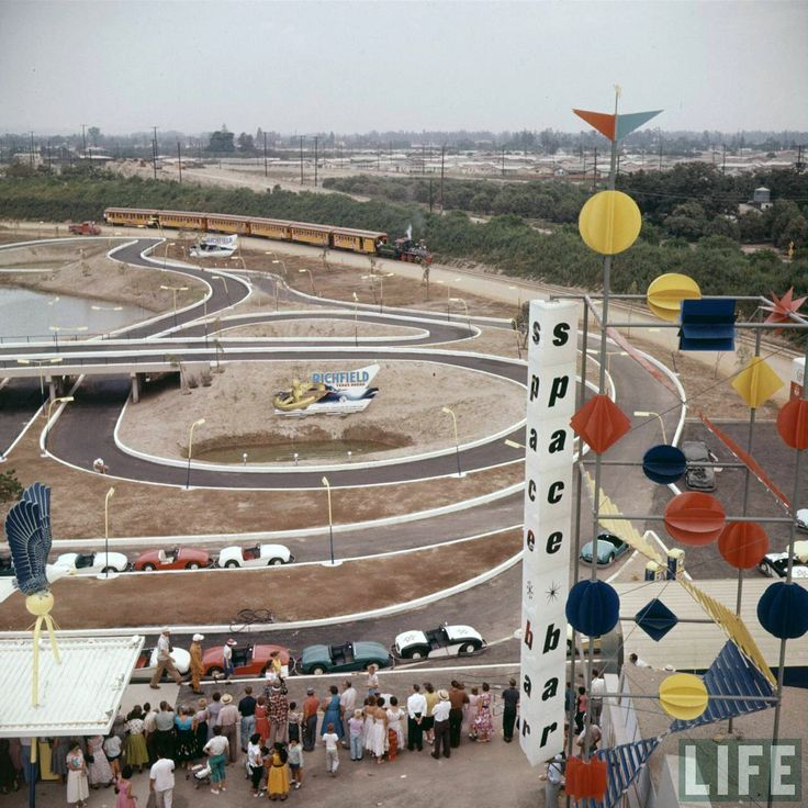 Disneyland opening day 1955 - Autopia with the Space Bar in the foreground. From Life Magazine, photos by Allan Grant and Loomis Dean. Color corrected by United Style.