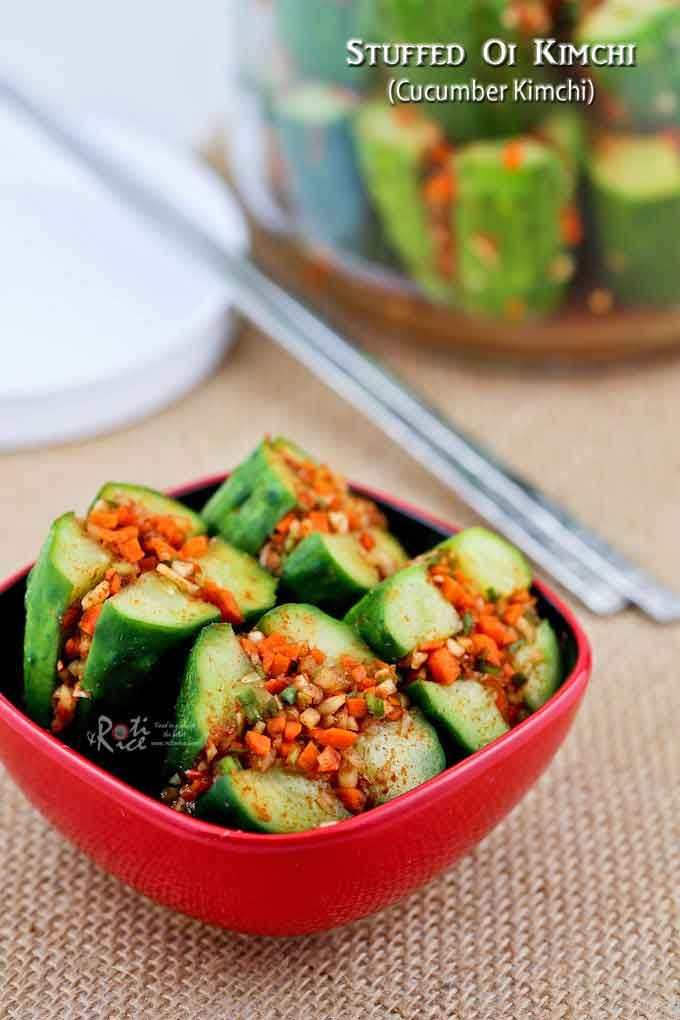 This crunchy Stuffed Oi Kimchi (Cucumber Kimchi) is a wonderful condiment during the warm summer months when small Kirby cucumbers are easily available. | RotiNRice.com