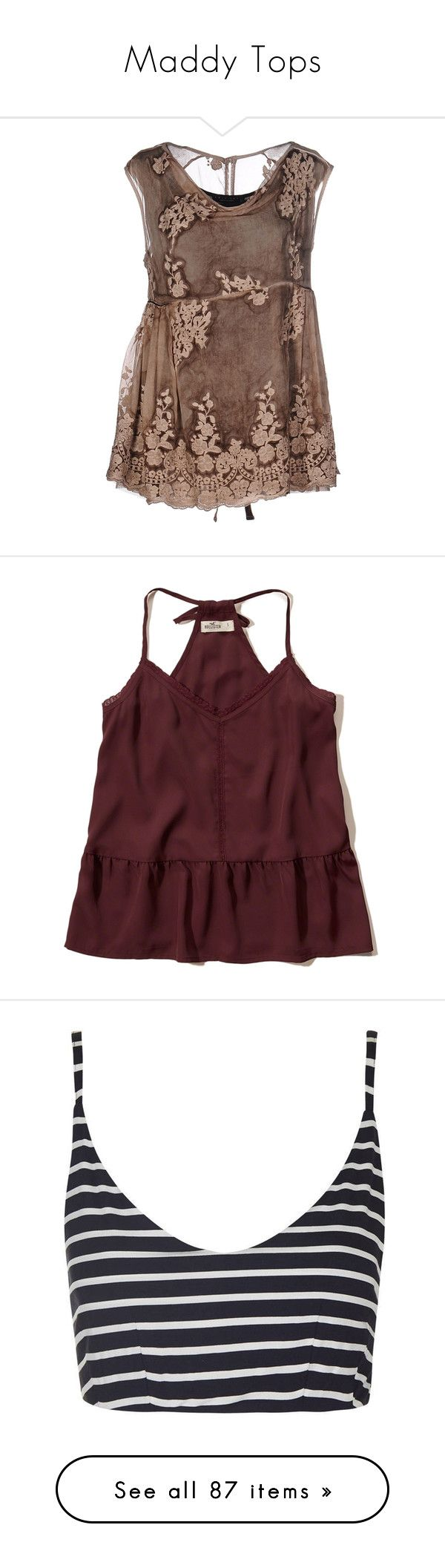 """""""Maddy Tops"""" by kleinesbiest ❤ liked on Polyvore featuring camel, hollister, tops, burgundy, lace trim cami, strappy cami, lace trim camisole, red cami, red camisole and crop tops"""