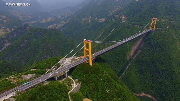 ✶ Sidu River Bridge, Hubei Province, CHINA. The Sidu River Bridge is the current record holder for highest bridge in the world, which hangs over 1,600 vertigo-inducing feet above a canyon floor, connecting what amounts to two mountaintops. At just under a mile, the expanse between the two sides of the bridge was, so long that the builders had to use a rocket to string the first pilot line across the gap. ✶