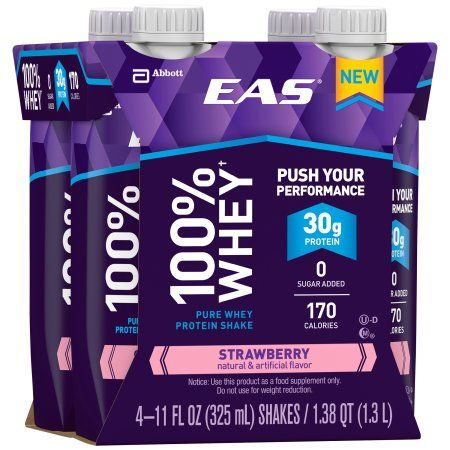 EAS 100% Whey Strawberry Pure Whey Protein Shakes, 11 fl oz, 4 count