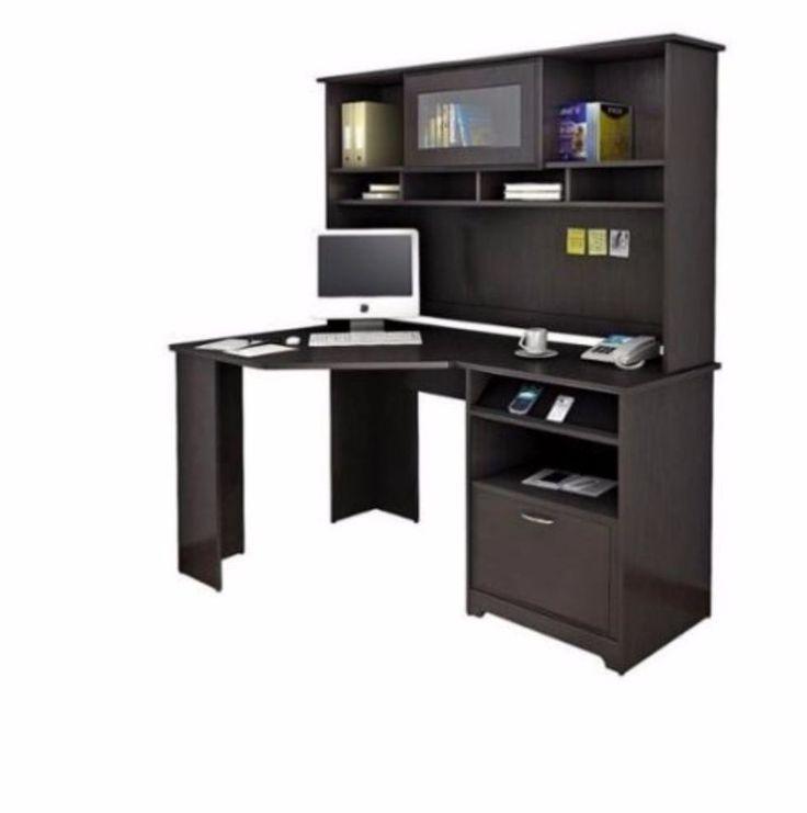 Corner Computer Desk With Hutch L Shaped Reception Computer Desks Wood Maple  #BushCabot