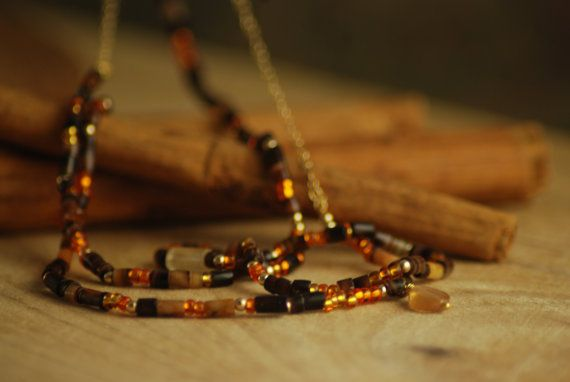 Necklace  - Golden Spices - Boho Chic - Cinnamon stone, Carnelian, Glass, Gold, Sea Urchin, Jade, Quartz - Beads and chain - Delicate
