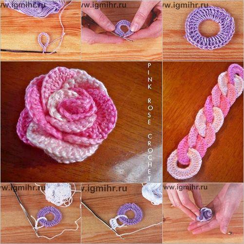 DIY Crochet Interlocking Rose