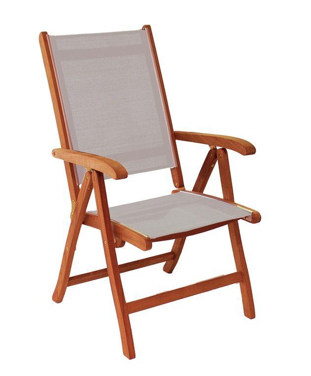 Gartenstuhl Alexander Rose Cornis Hochlehner Textilene Holzstuhl Klappstuhl - Durch die dunklere Farbe sehen die Möbel der Cornis Reihe besonders edel aus.