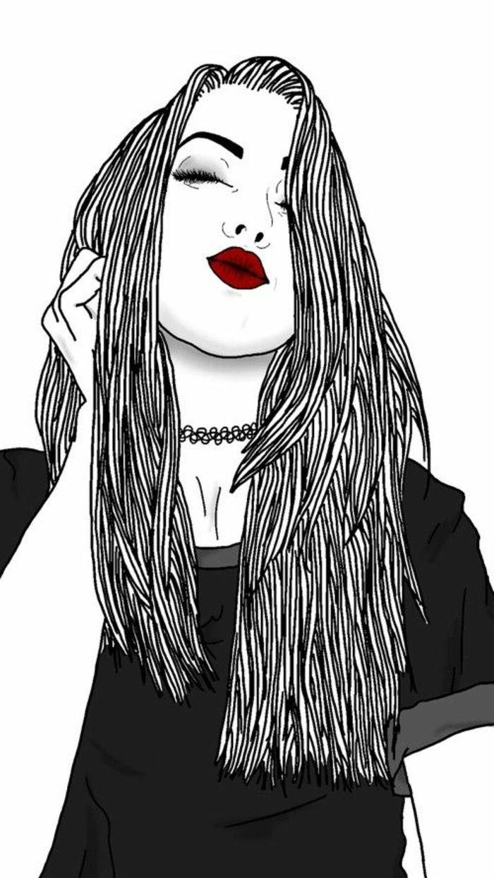 Dessin Fille Noir Et Blanc : dessin, fille, blanc, Épinglé