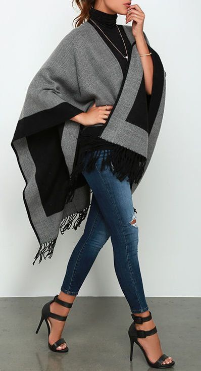 Ripped jeans   sandals   cape