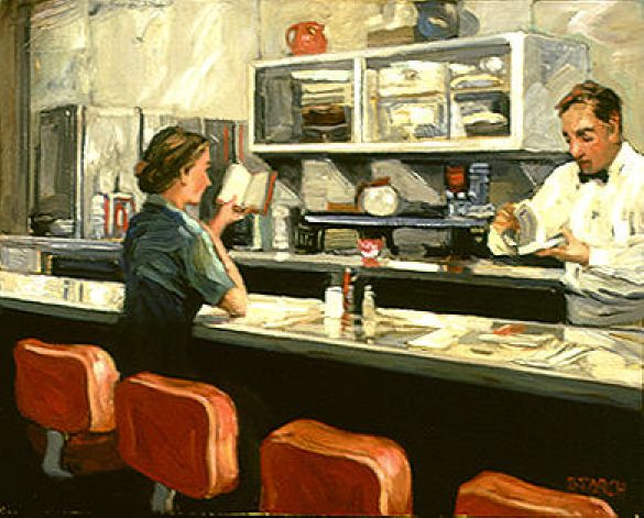© Sally Storch (Artist. Pasadena, California). Woman in diner reads a book while awaiting her order. Artist site: http://sallystorch.com/  ... Give credit where due. See: http://pinterest.com/about/etiquette/ http://www.pinterestnews.org/2012/06/23/beginner HOW TO find artist's website: http://www.graphicsfairy-crafts.com/2012/03/how-to-find-original-source-of-image-on.html