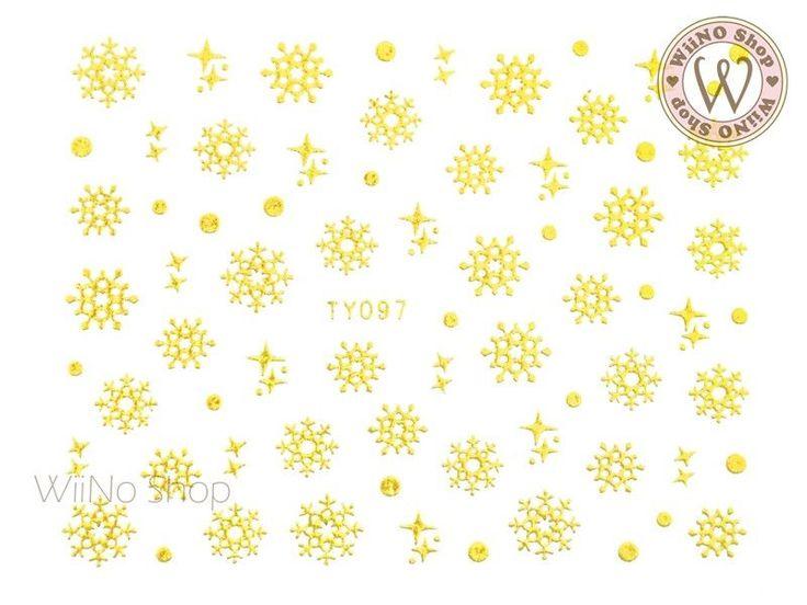 Gold Snowflake Nail Art Sticker - 1 pc (TY097G)