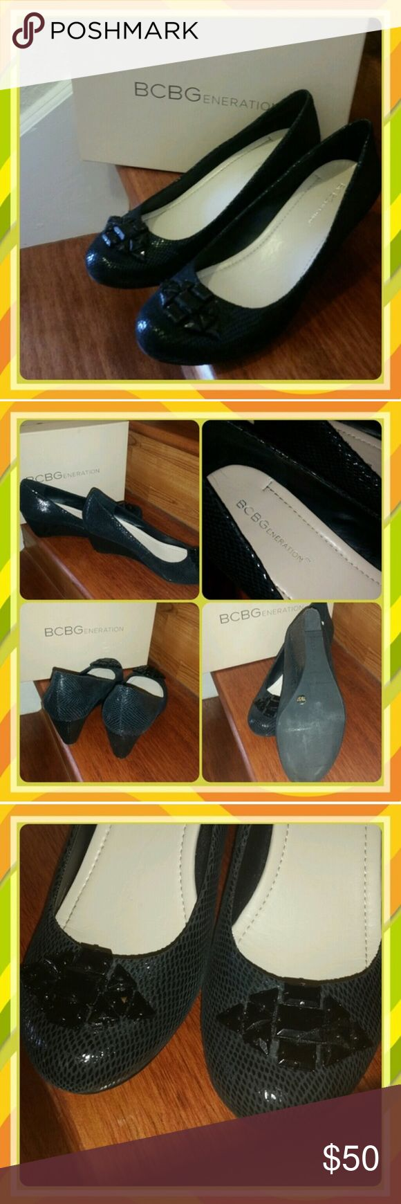 BCBGENERATION TREESE WEDGE PUMP Beautiful and stylish! Excellent pre-owned condition, Treese wedge pump in black snakeskin suede, will compliment any outfit. Size: 7, color: black, beautiful ornament on front, BCBGeneration Shoes Wedges