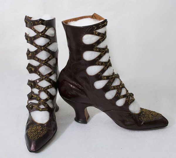 Beaded cross strap boots, c1900-05 (Not a favourite period, but I love the shoes and boots!)