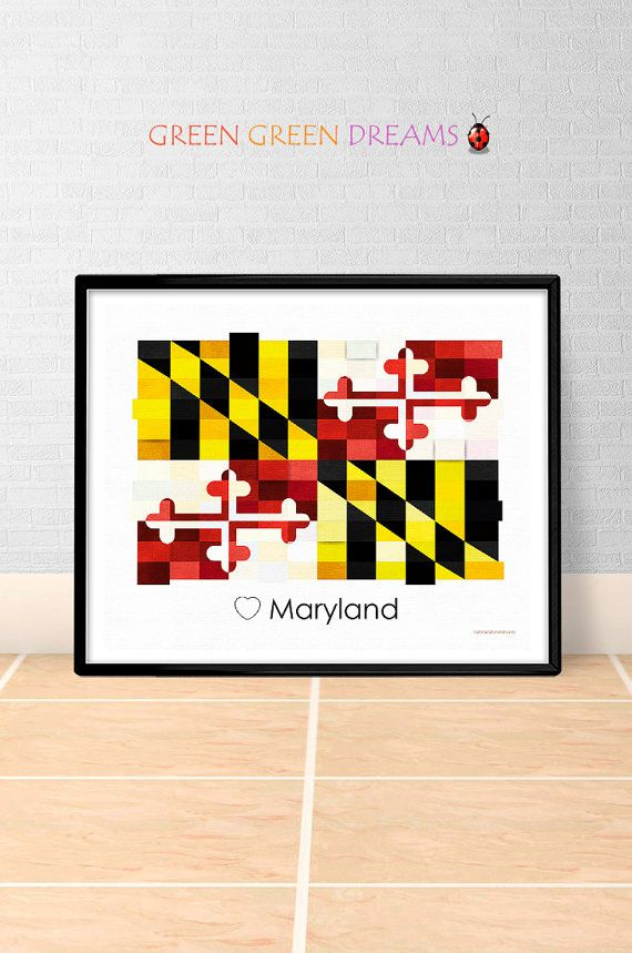 Maryland Flag Print Poster Wall art Maryland US State flags Maryland MD printable download Home Decor Digital Print gift GreenGreenDreams