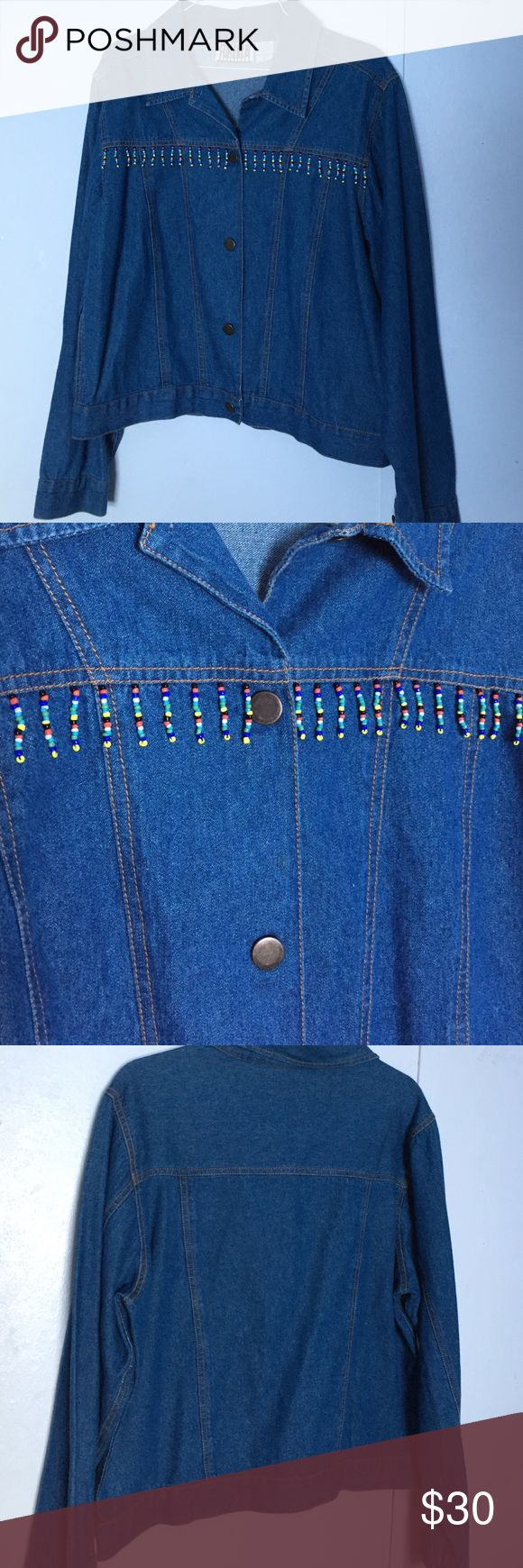 CUTE Lady's Denim Jacket CUTE lady's hip-length denim jacket with button front closure, beaded fringe on the front for design and long sleeves! Perfect for work and play!! Worn once so practically new! RORENZA Jackets & Coats Jean Jackets