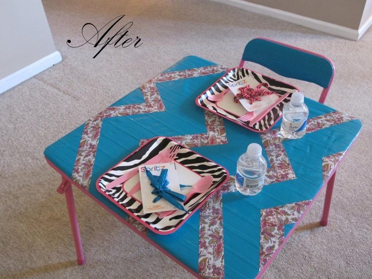 amazing 'upcycle' of a card table * with duct tape!!!